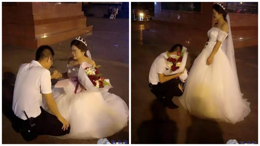 女生穿著婚紗向男生求婚被拒絕,事後得知原因超暖心的。(圖/翻攝自中國新聞網) 女穿白紗下跪求婚被拒絕 男方霸氣回:這婚我來求才對