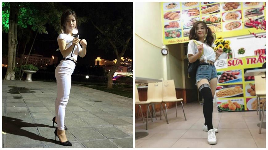 越南這名「武術正妹」,腳踩高跟鞋耍雙節棍,引發網友熱烈討論。(圖/翻攝自臉書) 腳踩高跟鞋耍雙節棍 越南超甜美「武術正妹」爆紅