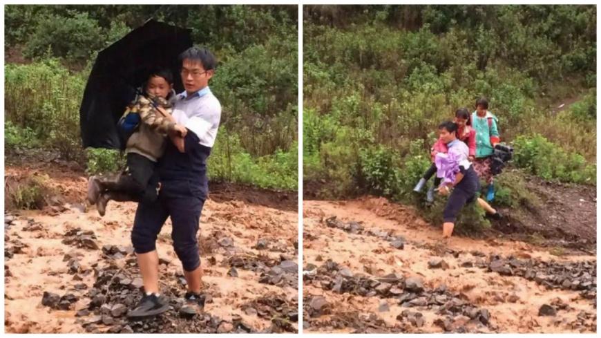 雲南昆明木多小學的老師段瑞,他抱著67個孩子渡過湍急的水流,被網友封為是:最帥小學老師。(圖/翻攝自央視微博) 抱67個孩子過泥流 最帥小學老師:這是應該的