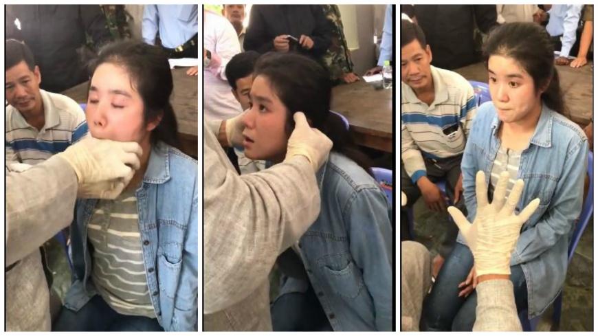 泰國一名男子自稱宗教師父,聲稱可幫助聾啞少女恢復聽力,但過程讓人看了疑問連連。(圖/翻攝自臉書粉絲團) 這麼神?師父指插喉嚨呼巴掌 聾啞少女聽得見了