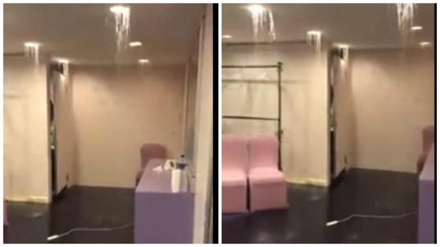 新娘休息室竟然出現「瀑布」,當場讓新娘和新秘傻眼。(圖/翻攝自YouTube) 傳說的水濂洞?新娘進入休息室 驚見「瀑布」嘩啦啦