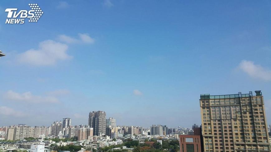圖/中央社 揮別灰濛濛天空 台中市出現藍天白雲