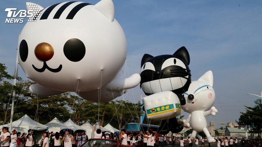 圖/中央社 大氣球遊行嘉年華 貓狗來助陣