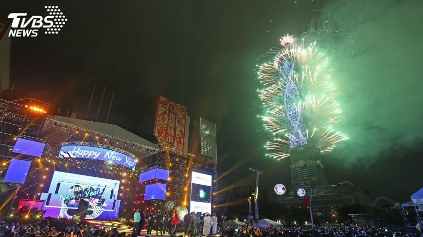 圖/中央社 跨年煙火LED燈網夯 台北101擬延用