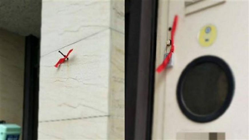 圖/翻攝自爆廢公社 門口綁「紅帶子」被小偷盯上?網卻讚很貼心