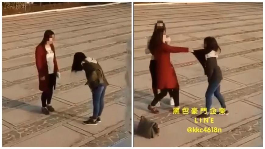 紅衣女抓包小三偷吃,約對方外出談判後當場動用私刑。(圖/翻攝自「黑色豪門企業」臉書粉絲團) 抓包男友偷吃 高中女飛踢扯髮小三稱己「受害者」