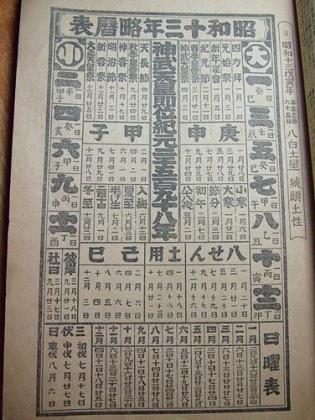 昭和十三年(1938)神宮曆(李道浸先生 提供)