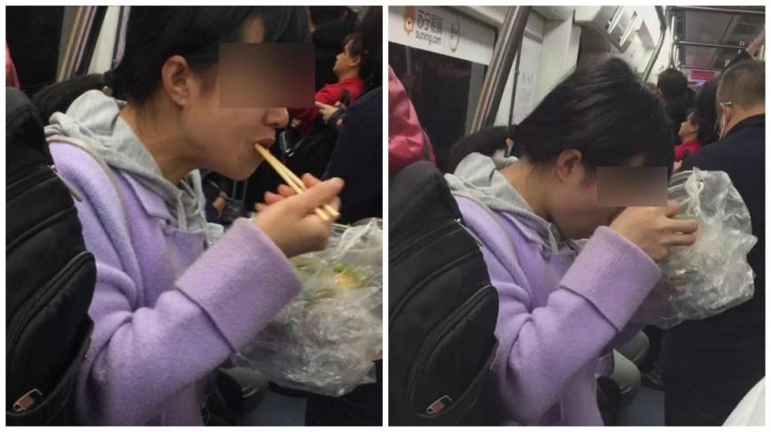 深圳有女子在地鐵車廂內吃起麻辣燙,味道太重讓其他乘客都紛紛閃避。(圖/翻攝自騰訊新聞) 女搭地鐵吃麻辣燙 重口味乘客閃避