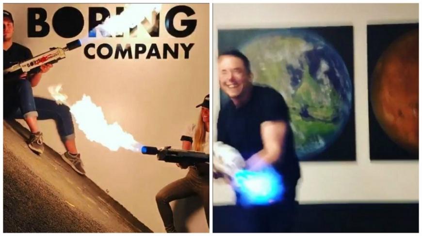 「無聊公司」負責人馬斯克最近推出一款新產品火焰噴射槍,在網路上引發熱烈討論。(圖/合成照,翻攝自IG) 號稱能對付殭屍 「無聊公司」推出火焰噴射槍賺進1億元