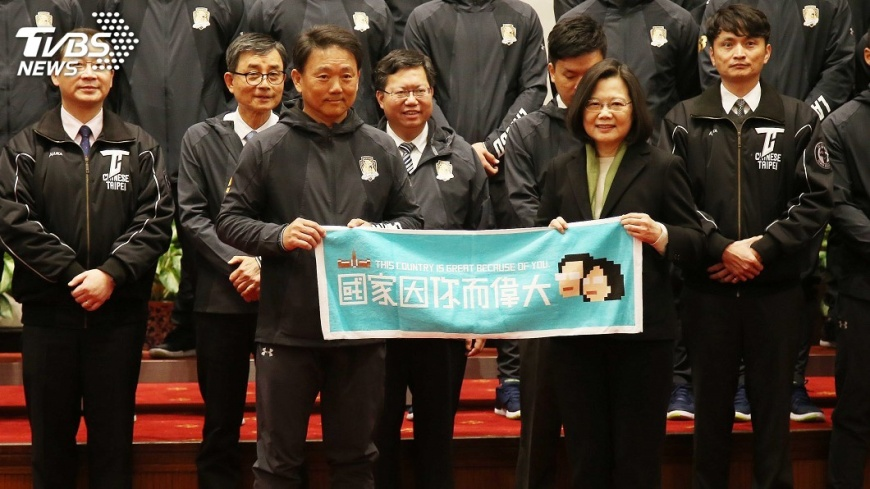 圖/中央社 再獲總統接見 總教練洪一中:感覺不一樣