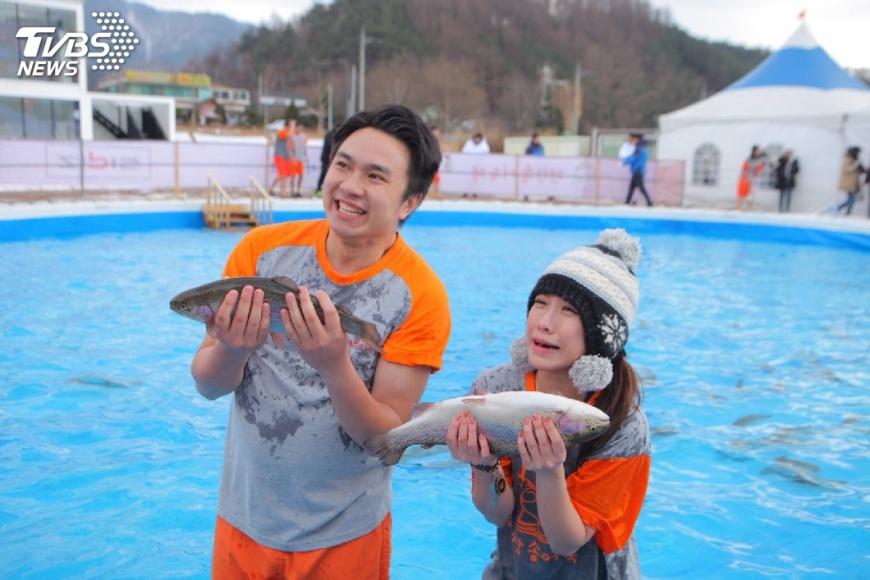 圖/TVBS 零下五度低溫 TVBS記者滑雪抓魚吸引韓媒報導