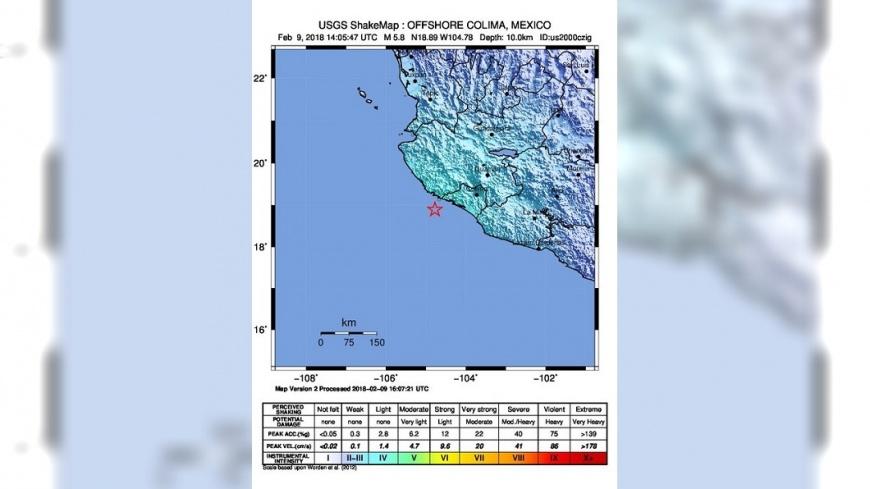圖/USGS 墨西哥遭規模5.8地震侵襲 未傳出災情