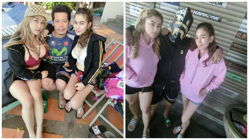 泰國一名男子時常在臉書放閃和2位嬌妻的合照,讓不少男性好羨慕。(圖/翻攝自臉書) 我好幸運!一夫多妻生9子女 泰男左擁右抱2辣妻閃瞎人