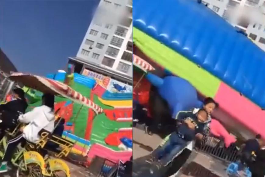 圖/翻攝自 YouTube 充氣城堡被強風吹翻 3童拋飛墜地2重傷