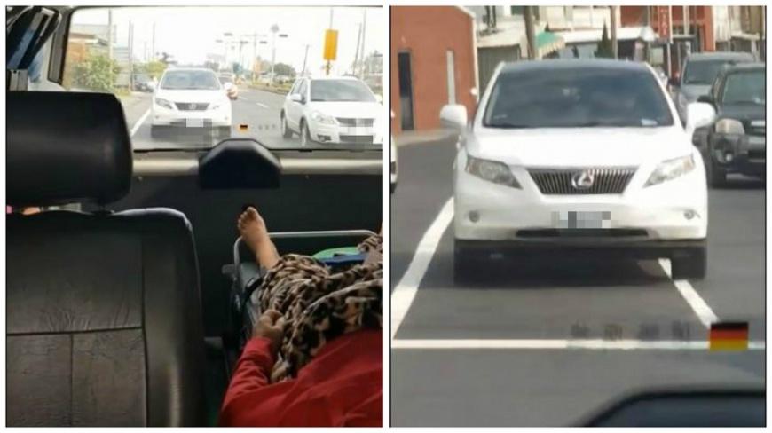 白色休旅車一路緊跟救護車,網友看到直呼太誇張。(圖/翻攝自爆料公社) 不想塞在車陣…把救護車當前導車 休旅車在後緊跟