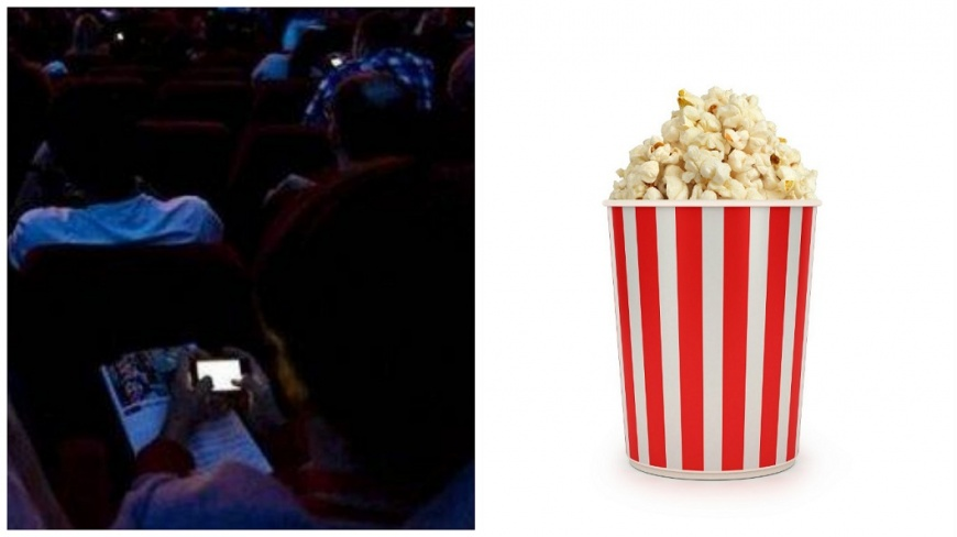 浙江一名男子不滿前座女觀眾在電影院內不斷滑手機,氣得把爆米花從她頭上倒下去。(合成圖/翻攝自浙青網和shutterstock) 女在電影院狂滑手機 後排男拿爆米花砸她頭