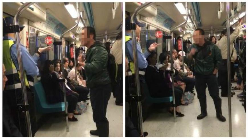 捷運板南線上一名男子在車廂內吃檳榔被保全制止,他不斷狂幹譙還吐檳榔渣和檳榔汁。(圖/翻攝自爆料公社) 沒水準!男在捷運吃檳榔被制止 他狂譙保全還吐渣