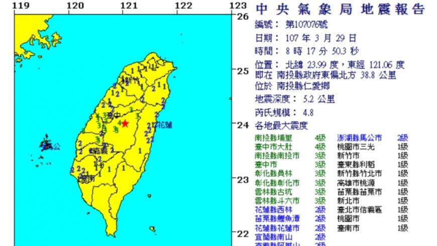 圖/中央氣象局 一早又搖!南投規模4.8地震 中部超有感