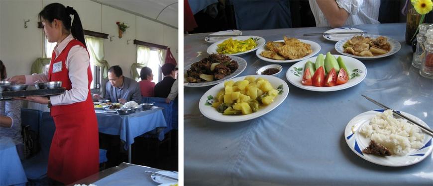 北韓餐車及菜色。