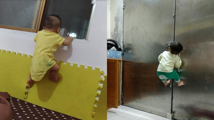 網友的寶貝孩子8個月就試圖離家出走。圖/翻攝自爆料公社