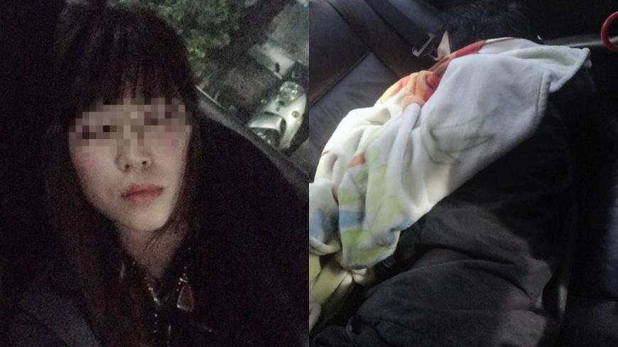 女網友和老公困苦擠在車上。圖/翻攝自「爆怨公社」