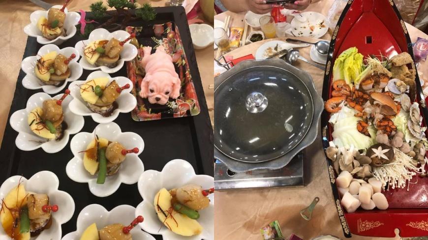 不過最讓廣大網友驚豔的除了粉紅色仿真狗狗蛋糕,還有吃到一半出現的「豪華海鮮鍋」。圖/翻攝自「爆廢公社二館」