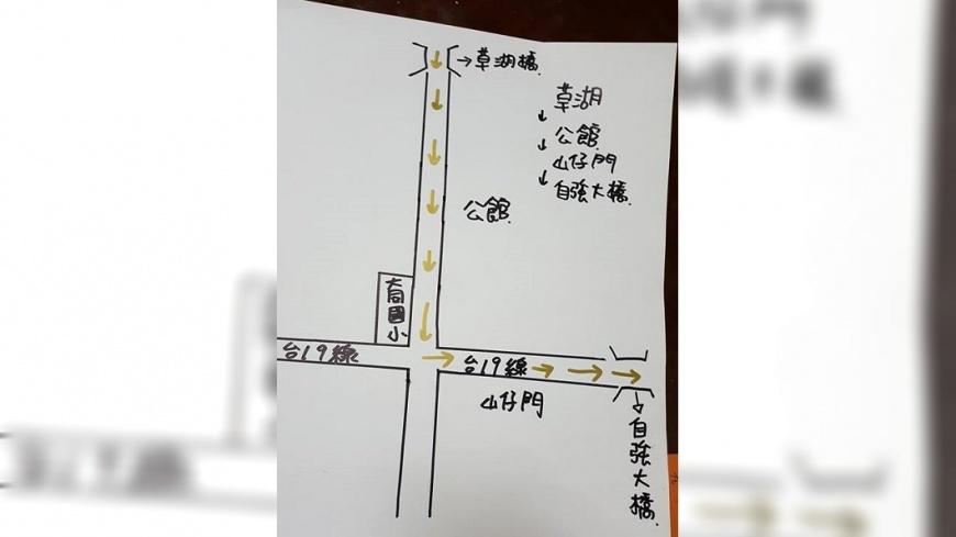 「送肉粽」路線圖。圖/翻攝自「二崙人(讚)出來」