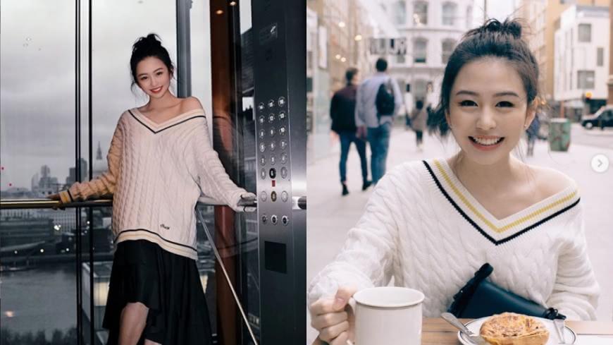 白色毛衣露處性感香肩(左);「男友視角」的照片引起熱烈回應(右)。圖/翻攝自沈月Instagram