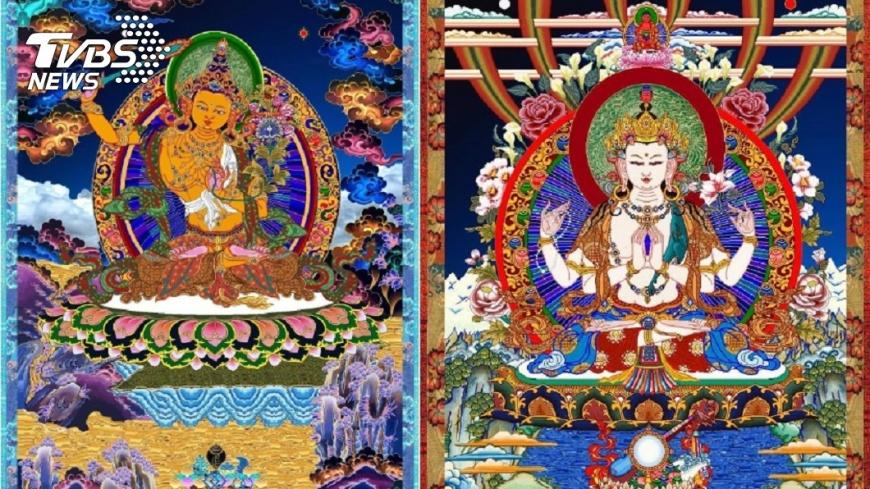 李爸爸用小畫家繪製文殊菩薩像和四臂觀音像。圖/李姓網友授權提供