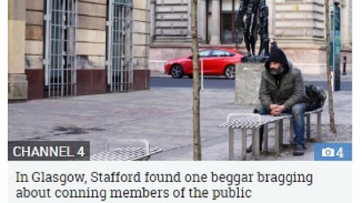 斯塔福德發現露宿街頭不僅不用擔心3餐,行乞1天最高還能獲得600英鎊。圖/翻攝自《太陽報》