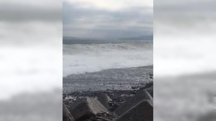 圖/翻攝自 田子の浦漁協青壮年部 推特 颱風還沒來巨浪先到 日本1天7人被捲走