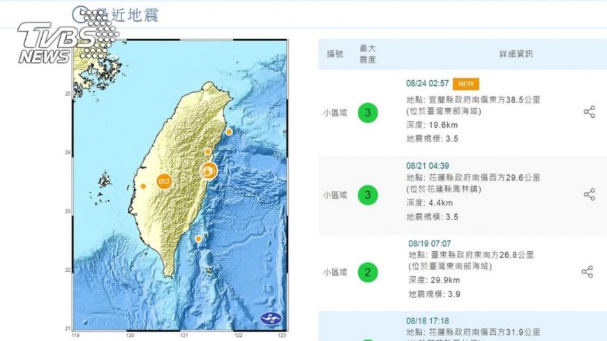 圖/中央氣象局 颱風地震一起來!東部清晨地震 最大震度宜蘭3級