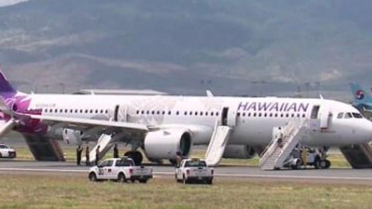 圖/翻攝自 Hawaii Aviation 推特 驚魂20分鐘! 夏航機艙冒白煙迫降 7人送醫