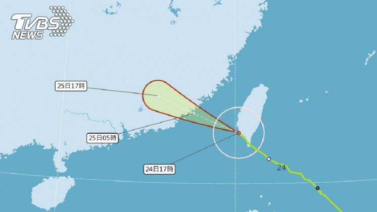 圖/中央氣象局 擦邊!白鹿16:10快閃出海 南台灣風雨越晚越大
