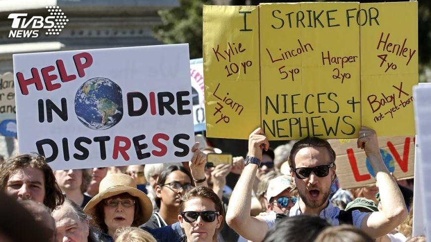 圖/達志影像美聯社 全球百萬人串聯 上街參與氣候變遷抗議