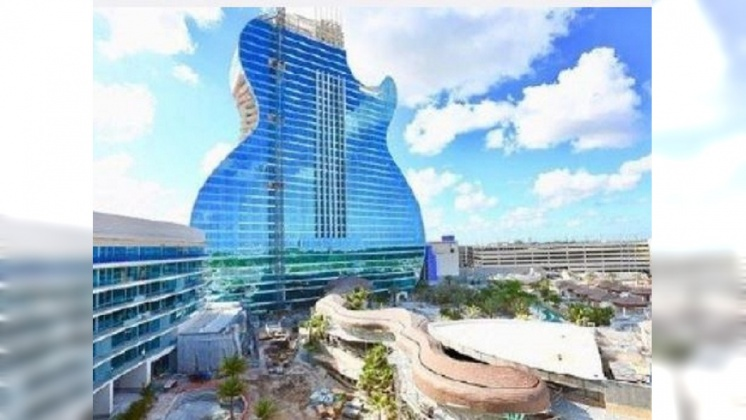 圖/翻攝自旅人制造 微博 佛州好萊塢海灘新亮點「吉他酒店」下週開幕
