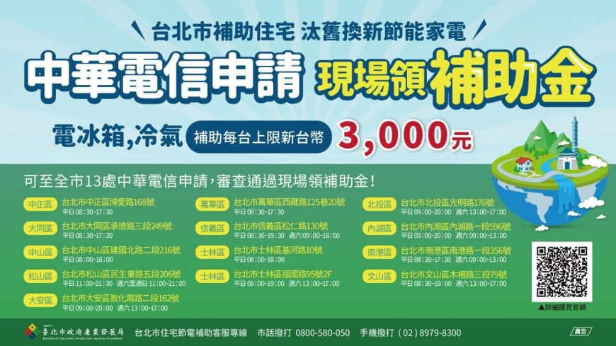欲申請節能電冰箱冷氣汰換補助 可至北市產業局網下載