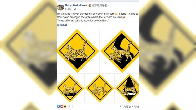 為集集彩繪列車繪圖的俄羅斯設計師莫洛措娃(Katya Molodtsova)再次設計石虎出沒警示牌。/翻攝 Katya Molodtsova 臉書 俄插畫家設計石虎出沒警示圖:你選哪個?