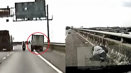 貨車路肩超車害撞嗆:是重機不讓路!騎士滾3圈痛倒路邊