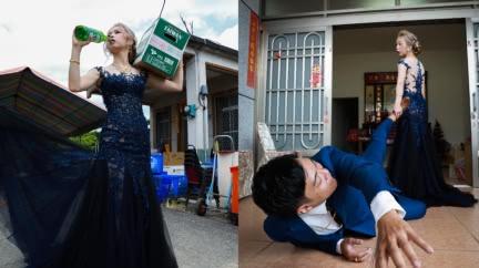 婚姻的模樣?「新娘灌酒、拖新郎進門」創意婚紗照