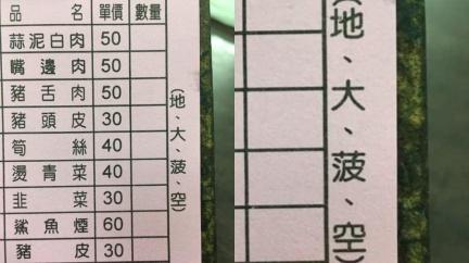 小吃店菜單寫「地、大、菠、空」 內行解碼:台灣人才懂