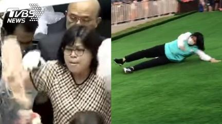 丟豬腸一戰成名!王美惠滑草成「滑壘」 網友哏圖連發