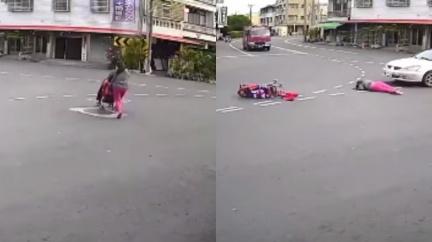 婦推車闖馬路被撞飛 嬰兒車內「伸手腳掙扎求救」