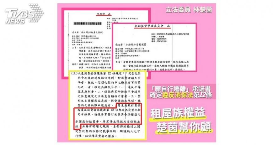 圖片翻攝 林楚茵臉書/TVBS 租屋族免驚! 房東要求簽「願自行遷離」無效 不得列租約