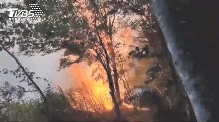 阿里山昨(26)日達邦公路再傳火警,稍早已撲滅火勢燃燒面積約100平方公尺。(圖/TVBS) 阿里山達邦公路火警解除 燃燒面積約100平方公尺