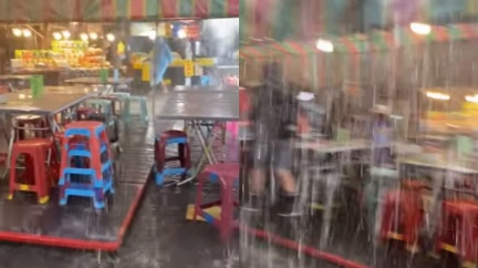 雨神來了!清境農場「暴雨夾冰雹」 遊客超興奮