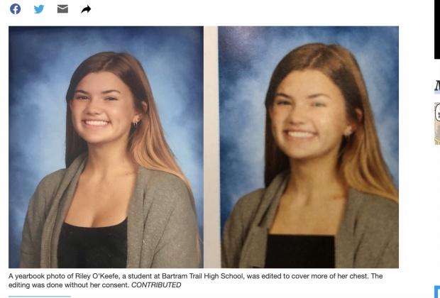 照片女學生胸部部分被蓋上黑色圖板。(圖/翻攝自News4JAX) 美高中畢冊對女性「動手腳」 胸部P圖挨批性別歧視