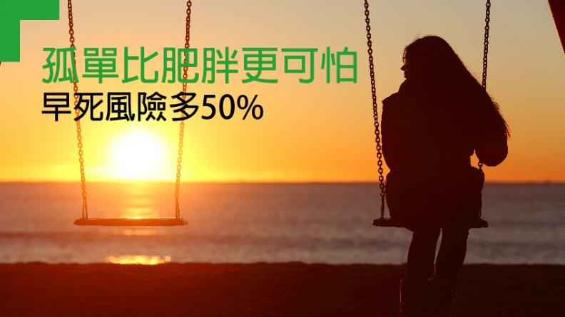 孤獨比肥胖更可怕 早死風險多50%