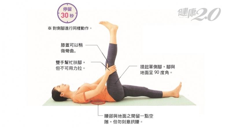 護膝練屁股更有效!躺著做30秒「臀部伸展操」 健康自在走到老