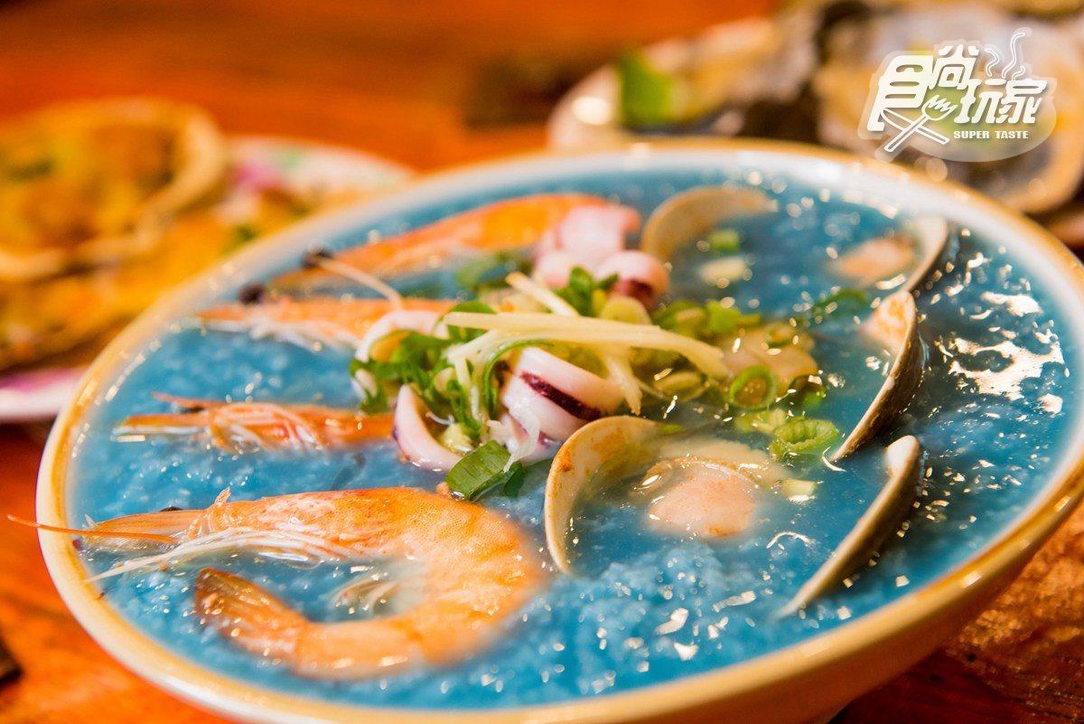 藍色海鮮粥太狂了 雙手並用大啃龍蝦螃蟹更狂